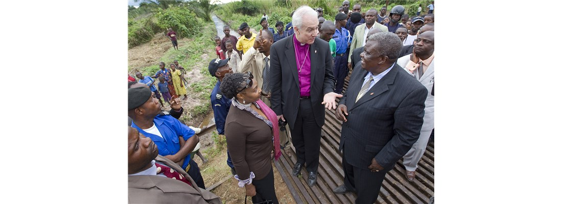 Bishop Ntambo of North Katanga shows part of the canal system he encouraged residents to dig to eliminate standing water.