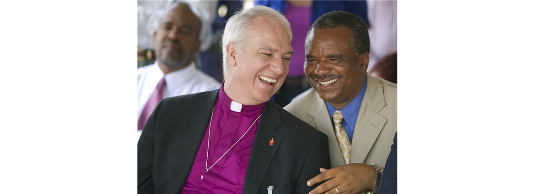 Western PA Bishop Tom Bickerton laughs with Rev. Kimba Kyakutala of the Democratic Republic of Congo during a World Malaria Day kickoff event in Lubumbashi.